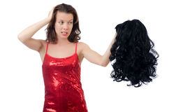 Woman with a selection of wig Stock Image