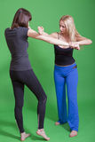 Woman self defence. Women self defence classes on green background Stock Image