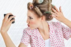 Woman Self Photographing Herself Royalty Free Stock Photo