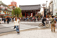 Woman selfie in front of Sensoji Temple Asakusa in cloudy day Royalty Free Stock Image