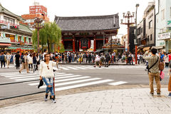 Woman selfie in front of Sensoji Temple Asakusa in cloudy day Royalty Free Stock Photography