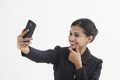 Woman selfie Stock Photo