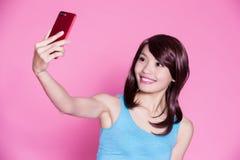 Woman selfie happily Stock Photos