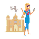 Woman Selfie on Summer Vacation in India Stock Image