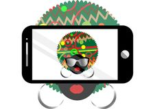 Woman selfie vector concept background. Trendy black afro  woman with sunglasses taking a self portrait on smart phone Royalty Free Stock Photos