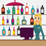 Woman seller in shop of elite alcohol. Vector flat cartoon Royalty Free Stock Image