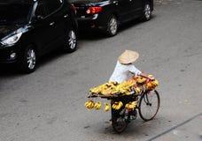 A woman selling banana on the bike in Saigon, southern Vietnam Stock Photo