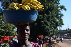 Woman selling bananas at market. Chipata. Zambia Royalty Free Stock Photography