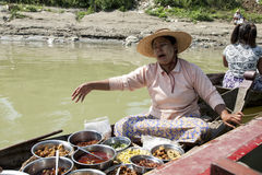 Woman Selling Burmese Food Stock Image