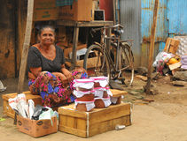 Woman selling curd - Tangalla Market (Sri Lanka) Stock Images