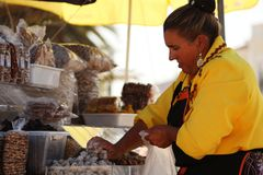 Woman Selling Figs Royalty Free Stock Images