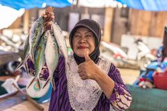 Woman selling fishes in local market Royalty Free Stock Photo