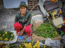 Woman Selling Flowers, Hoi An, Vietnam. A woman stoops on the sidewalk selling fresh flowers in an outdoor market in Hoi An, central Vietnam, with a motorbike Stock Photography