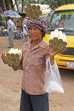 A Woman Selling Food at Skun Royalty Free Stock Image