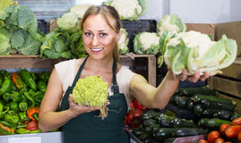 Woman selling fresh cabbage Stock Photo