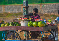 Woman selling fresh fruits Royalty Free Stock Photos