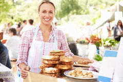 Woman Selling Fresh Sandwiches At Farmers Food Market Stock Photography