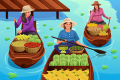 Woman Selling Fruit in a Traditional Floating Market stock illustration