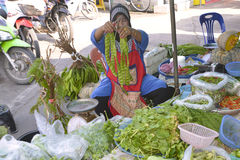 Woman selling fruit and vegetables Thailand Stock Images