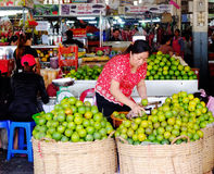 A woman selling fruits at market in Phnom Penh, Cambodia.  Stock Image