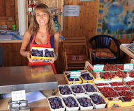 Woman selling fruits in a sales hut Royalty Free Stock Images