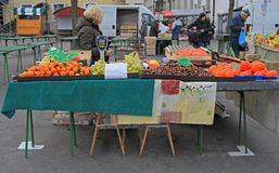 Woman is selling fruits on the street market in Ljubljana, Slovenia Stock Image