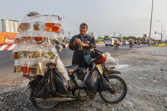 Woman selling golden fishes Royalty Free Stock Image