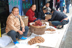 Woman selling grapes and walnuts Royalty Free Stock Photography
