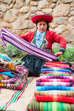 Woman selling handcraft peruvian Andes  Cuzco Peru. Cuzco, Peru - July 15, 2013: woman selling handcraft in the peruvian Andes at Cuzco Peru on july 15th, 2013 Stock Images