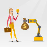 Woman selling idea of engineering of robotic hand. Royalty Free Stock Photos