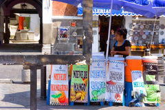 Woman Selling Juice on the Street in Puebla Royalty Free Stock Photography