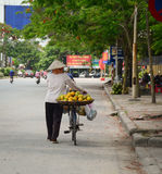 A woman selling local fruits on the street Royalty Free Stock Photo