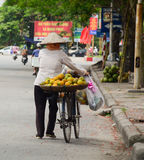 A woman selling local fruits on the street Royalty Free Stock Photos