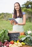 Woman selling organic vegetables at market Stock Photo