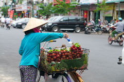 Woman Selling Rambutan in Vietnam Stock Photos
