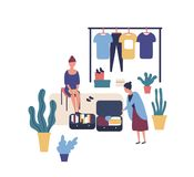 Woman selling stylish vintage clothes at garage sale. Cute funny female seller and customer at summer outdoor fashion stock illustration