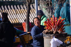 The woman selling Tang Hulu Royalty Free Stock Photography