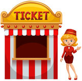 Woman selling ticket at the booth Royalty Free Stock Images