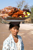 Woman selling traditional Burmese street food in Pyin U Lwin Royalty Free Stock Photography