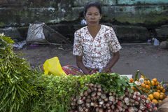 Woman selling vegetables Royalty Free Stock Photography