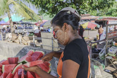 Woman selling water-melon Stock Photos
