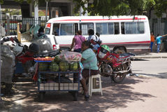 Woman selling watermelon in a street of Santa Cruz Stock Image