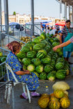 Woman selling watermelons at the market, Samarkand Royalty Free Stock Image