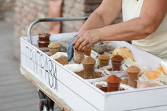 Woman sells spices in a street market Royalty Free Stock Photography