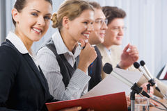 Woman at a seminar Stock Images