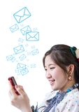 Woman sending message Stock Photo