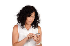 Woman sending messages. Royalty Free Stock Images