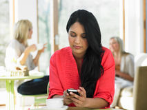 Woman Sending Text Message In Cafe Stock Images