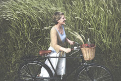 Woman Senior Bicycle Carefree Freshness Peaceful Concept Stock Images
