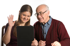 Woman and senior man stock photo